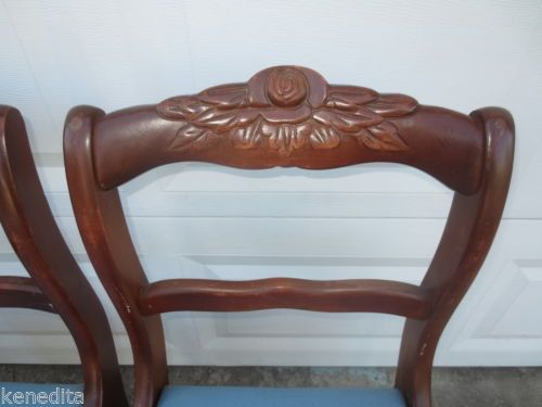 4 Dining Chairs French Country Carved Rose Victorian