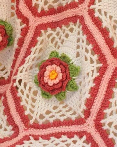 Crochet Rose Afghan Pattern : Rose Garden Afghan Crochet Pattern