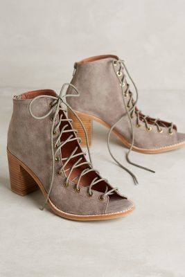 Jeffrey Campbell Cors Lace-Up Heels Taupe Wedges #anthrofave