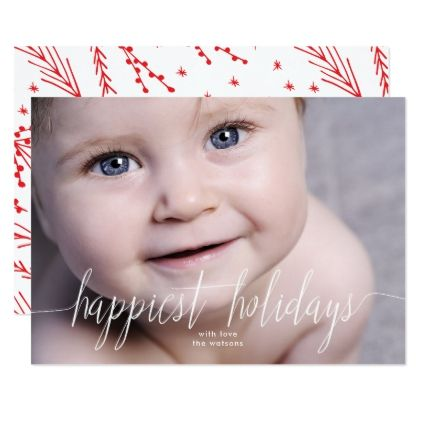 Happiest Holidays Christmas Photo Card - invitations custom unique diy personalize occasions