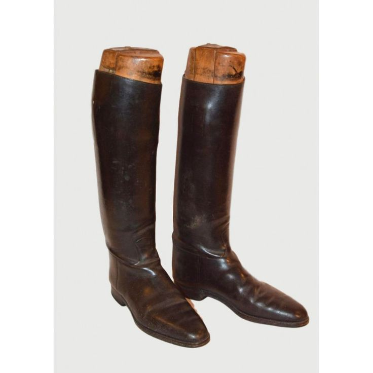 Leather boots with wooden trees,England 1900 Dimensions: 30x51x13 Weight: 6700gr.
