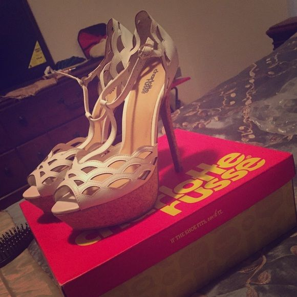 White open toes sandles-high heeled. Worn once for an hr! Charlotte Rouse brand Shoes