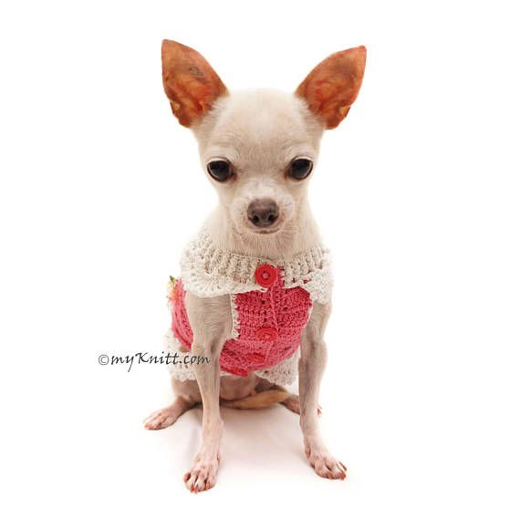 Deep Pink Dog Sweater with crochet flowers. Cute Dog Clothes Girl ...