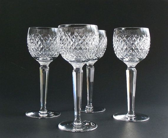 Four waterford crystal alana wine glasses lead crystal wine hocks waterford ireland - Waterford colored wine glasses ...