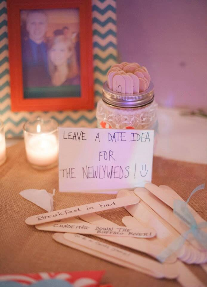 DIY wedding give a date idea to newlyweds mansion jar lace coral blue guest book idea