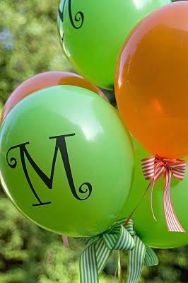 DIY Monogrammed Balloons - use clear label paper --- love the bows too!