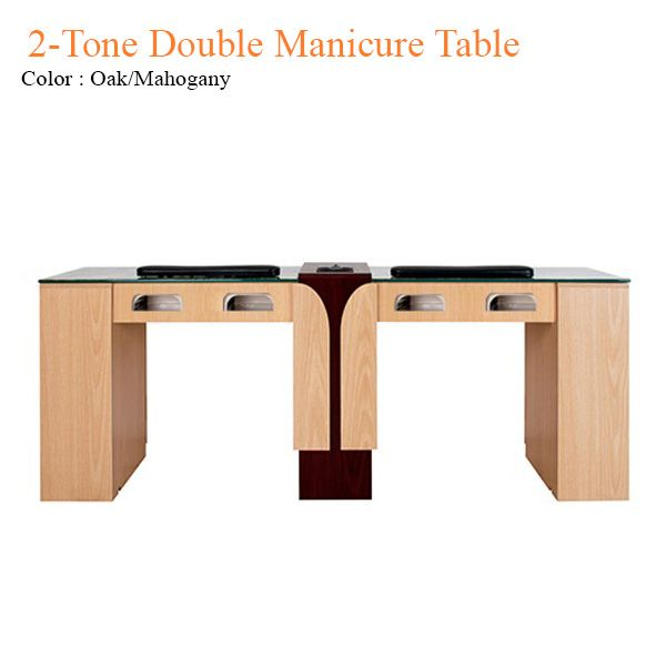 2-Tone Double Manicure Table with UV Gel Lights & Fan - 74 inches