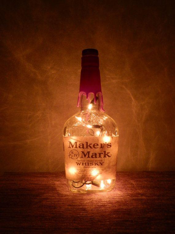 Lighted Bottle Maker's Mark Kentucky Bourbon Whisky Amber