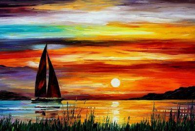 夕日とヨット 油絵の壁紙   壁紙キングダム PC・デスクトップ版