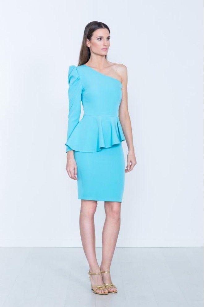 Vestido azul volante cintura