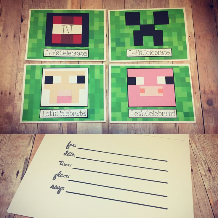 The 25 best minecraft birthday invitations ideas on pinterest handmade minecraft themed birthday invitations minecraft creeper minecraft sheep minecraft pig minecraft solutioingenieria Images