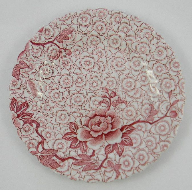 Vintage Red Chinoiserie Chintz English Transferware Plate Lotus Flower