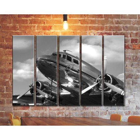 Multi Panel SET Airplane Wall Art Vintage Plane Canvas Wall Art Aviation Wall Art Aircraft Canvas Wall Art Decoration Print Poster Picture Painting 35x55 inches, Black