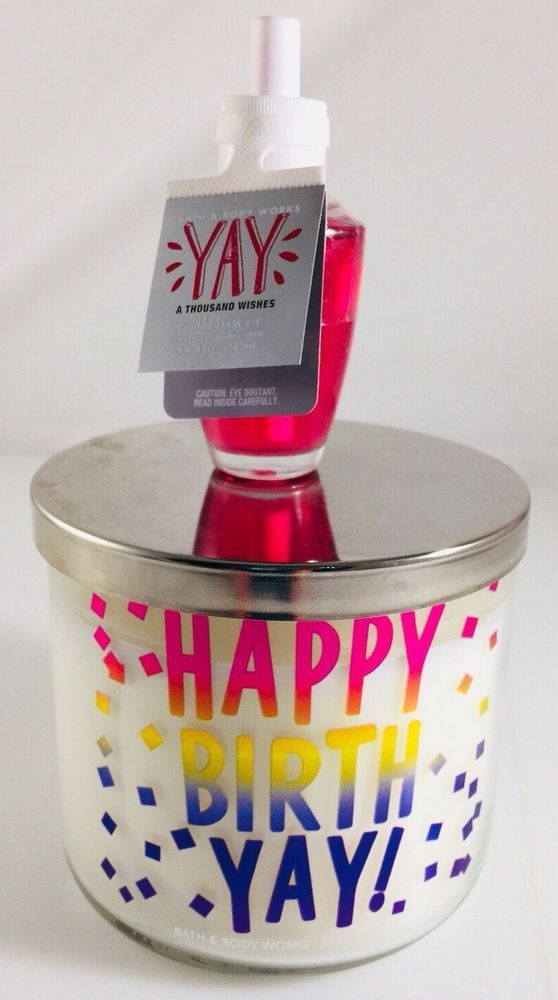 BATH BODY WORKS HAPPY BIRTH YAY CITRUS MANGO BIRTHDAY CANDLE 3 WICK 145OZ Wal