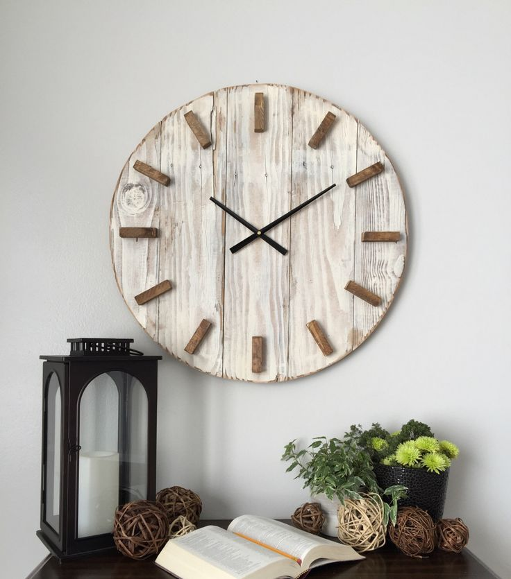 24 in wooden clock Oversized wall clock