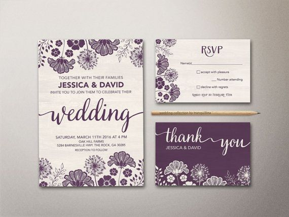 Purple Wedding Invitation Printable, Floral Wedding Invitation Suite, Modern Wedding Invitation, Rustic Wedding Invite, Printable Wedding