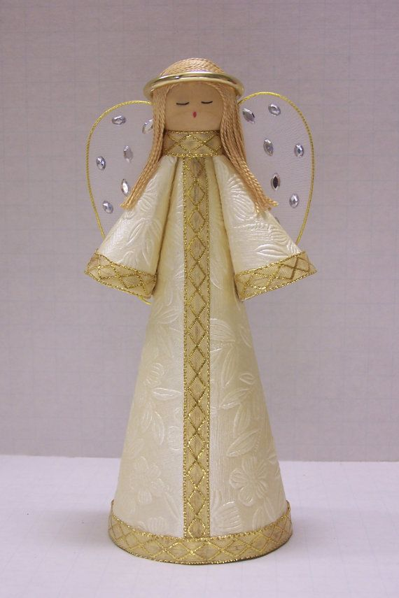 Floral Embossed Cream Paper Angel for a tree by TammysCraftShoppe