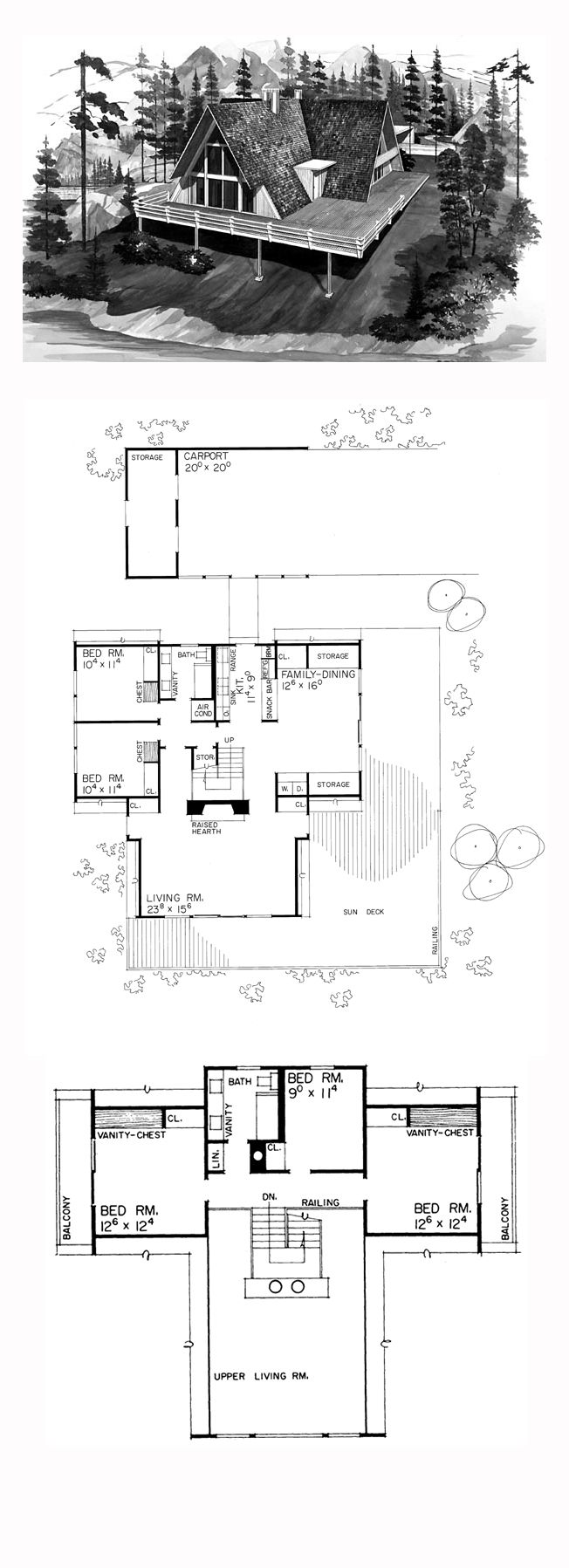 A-Frame House Plan 90233 | Total Living Area: 2190 sq. ft., 5 bedrooms and 2.5 bathrooms.