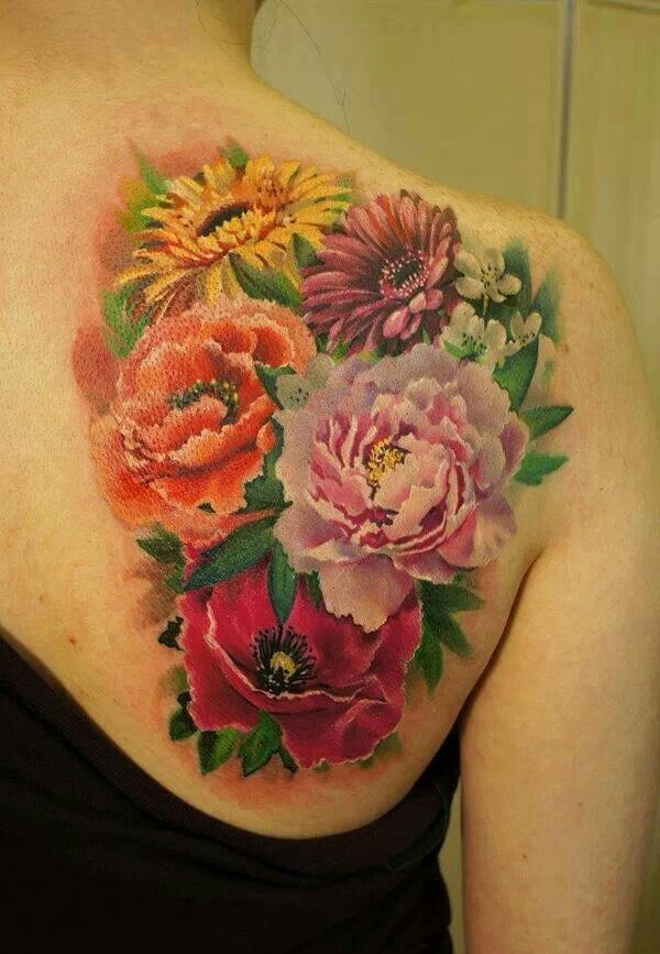 Pretty Colorful Flower Tattoos: Sunflower Tattoos, Pretty Flower