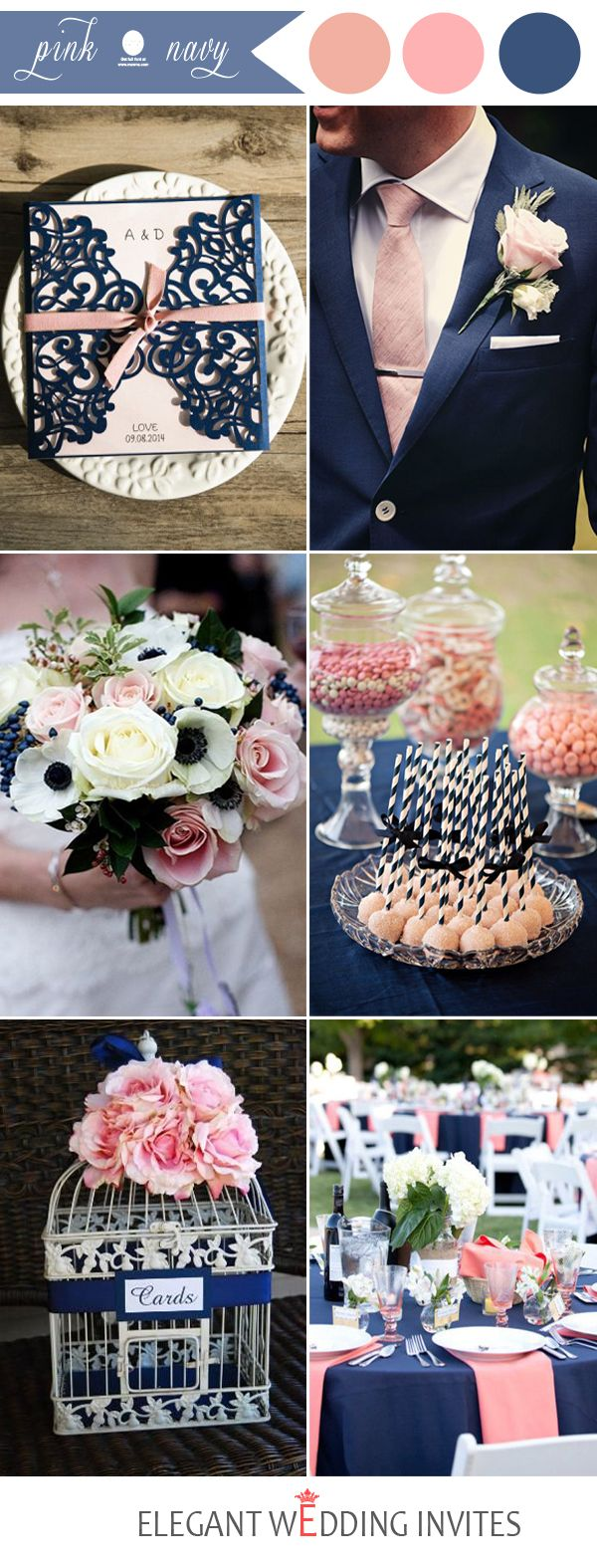 popular navy and pink wedding color ideas