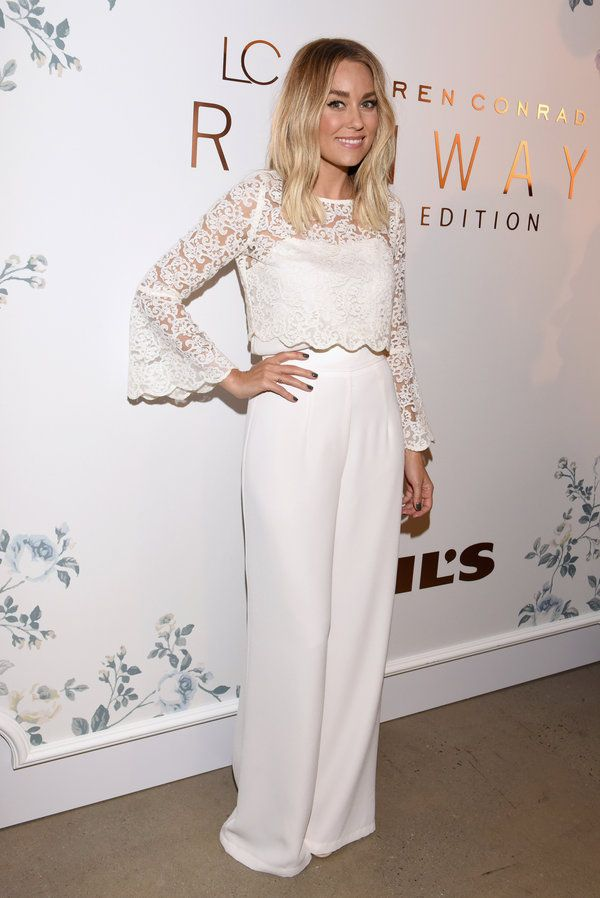 Lauren Conrad's all white lacy cocktail outfit
