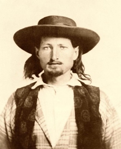 James Butler Hickok (1837-1876), better known as Wild Bill Hickcok was a folk hero of the American Old West. He came to the west as a fugitive from justice, first working as a stagecoach driver before becoming a lawman in Kansas and Nebraska. Hickok was involved in several notable shoot outs. He was shot and killed while playing poker in the Nuttal & Mann's Saloon in Deadwood, Dakota Territory.