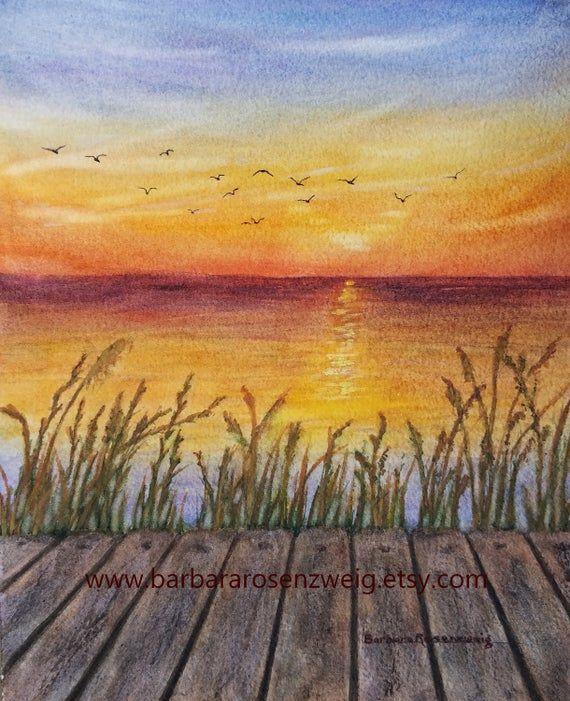 Sunset Dock Watercolor Painting Sunset Print Coastal Sunset Art