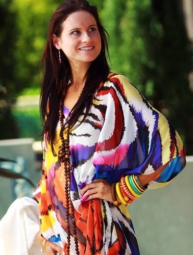 Laloom kaftan in Pazazz print, bold bright and perfect for summer. Sundowners by the pool, perfect for a cruise.