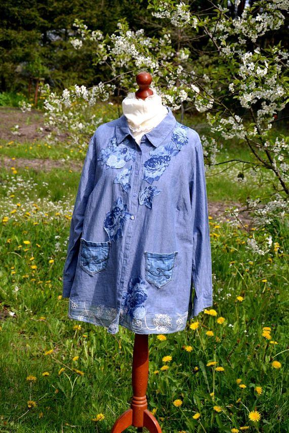 Romantische vrouwen blouse denim XL XXL XXXL romantische