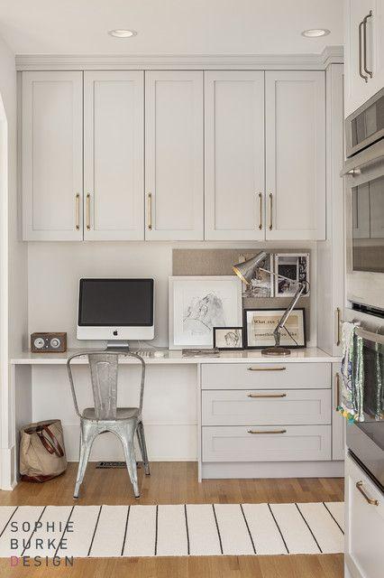 kitchen office in gray cabinets, white quartz; brass hardware
