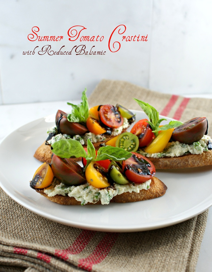 { Summer Tomato Crostini with Reduced Balsamic } @Lisa |Authentic Suburban Gourmet: Happy Sunday, Suburban Gourmet, Colors Tomatoes, Absolutely Perfect, Reduce Balsamic, Tomatoes Crostini, Perfect Saturday, Authentic Suburban, Summer Tomatoes