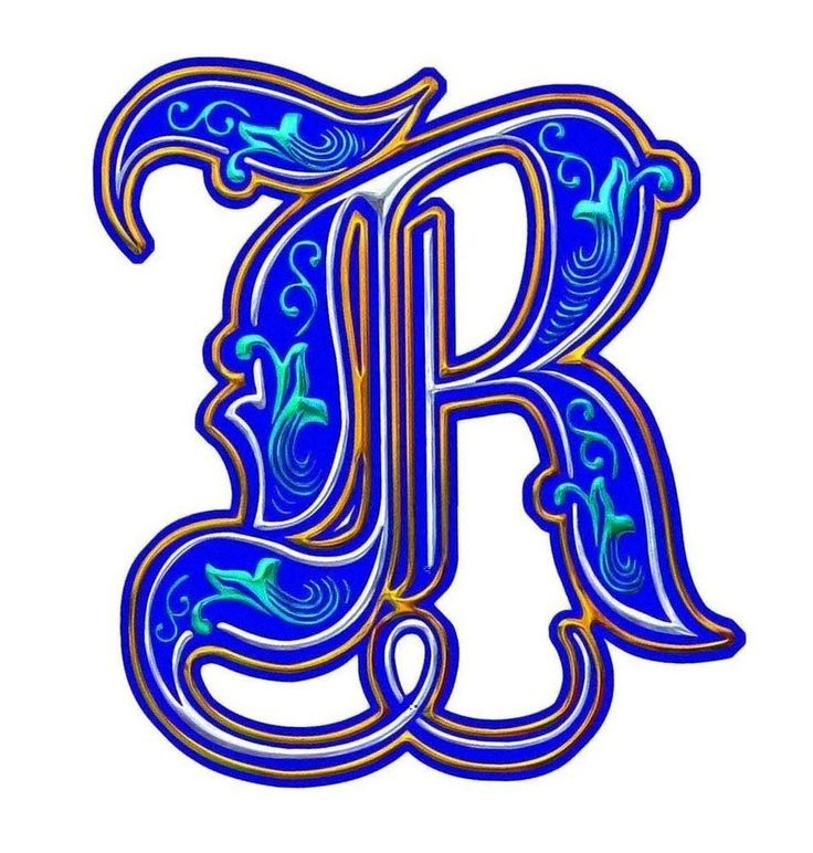Illuminated Letter R Coloring Pinterest Lettering