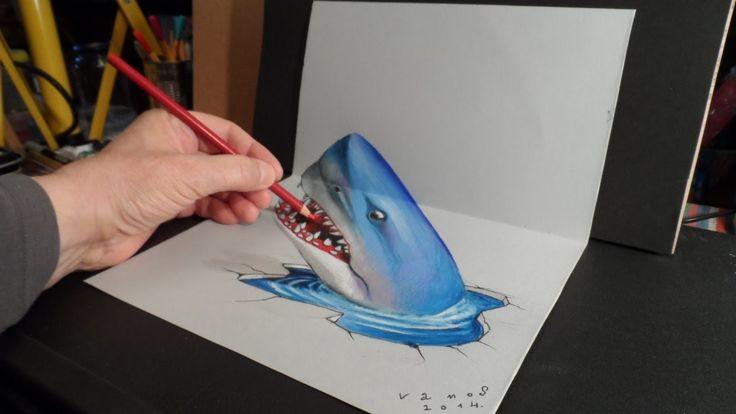 3D Trick Art - Drawing Shark - Optical Illusion