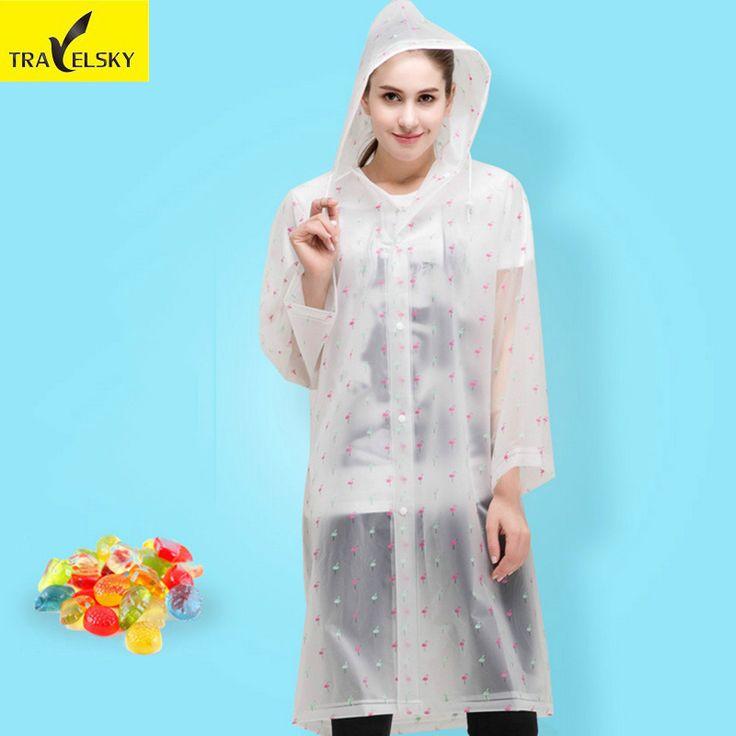 Travelsky EVA rainwear men adult mountain hiking transparent non disposable raincoat portable thickening outdoor raincoat poncho