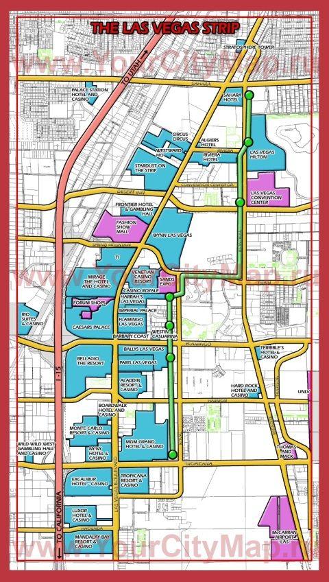 Карта отелей Стрипа - Лас-Вегас