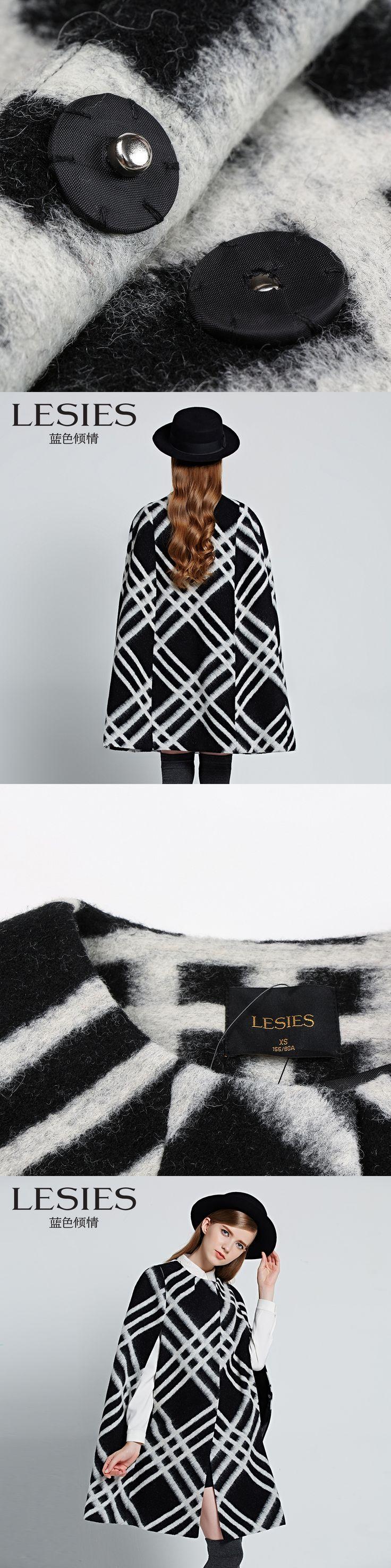 LESIES Brand Women Winter Clothes Fashion Geometric Plaid Short Sleeve Woolen Mantle Coats Lady Parkas Outwear Overcoat LS158406