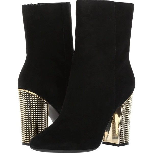 GUESS Lexilee (Black Suede) Women's Boots (405 BRL) ❤ liked on Polyvore featuring shoes, boots, mid-calf boots, short boots, black studded boots, black ankle boots, black boots and guess? boots