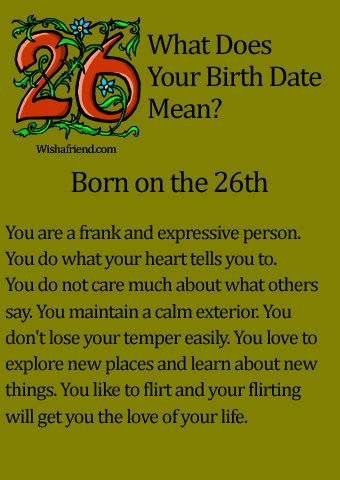 What Does Your Birth Date Mean?- Born on the 26th