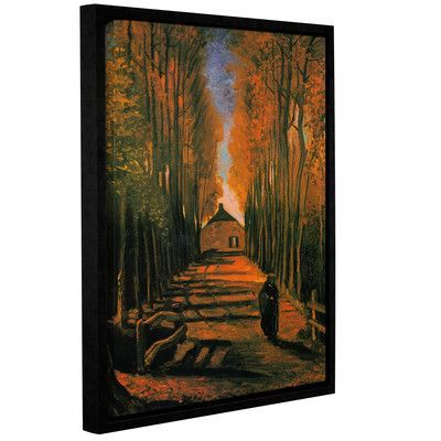 ArtWall Avenue Of Poplars In Autumn by Vincent Van Gogh Painting Print on Wrapped Floater-Framed Canvas Size: