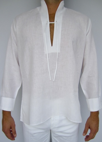 Men's linen caftan with Mandarin collar, drawstring front, and cuffed sleeves.  Available in white only.