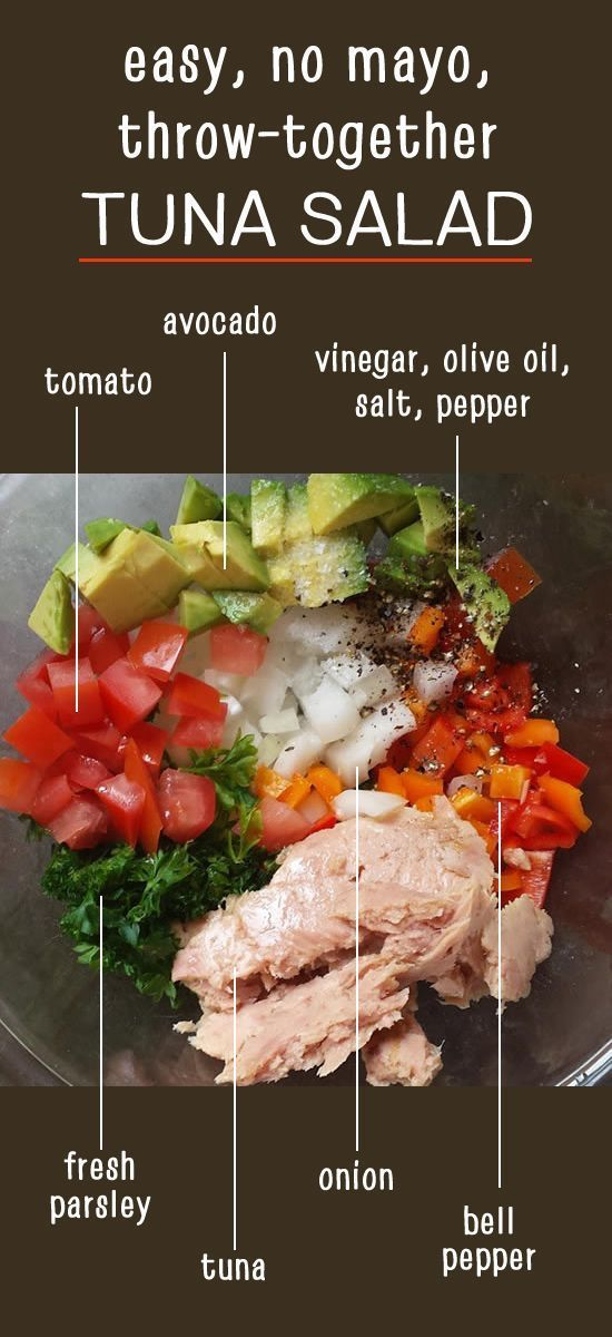 This is the easy lunch I make myself ALL THE TIME in the summer: no mayo throw-together tuna salad. Nightshade-free options shown, too! Paleo, Whole30, AIP friendly.