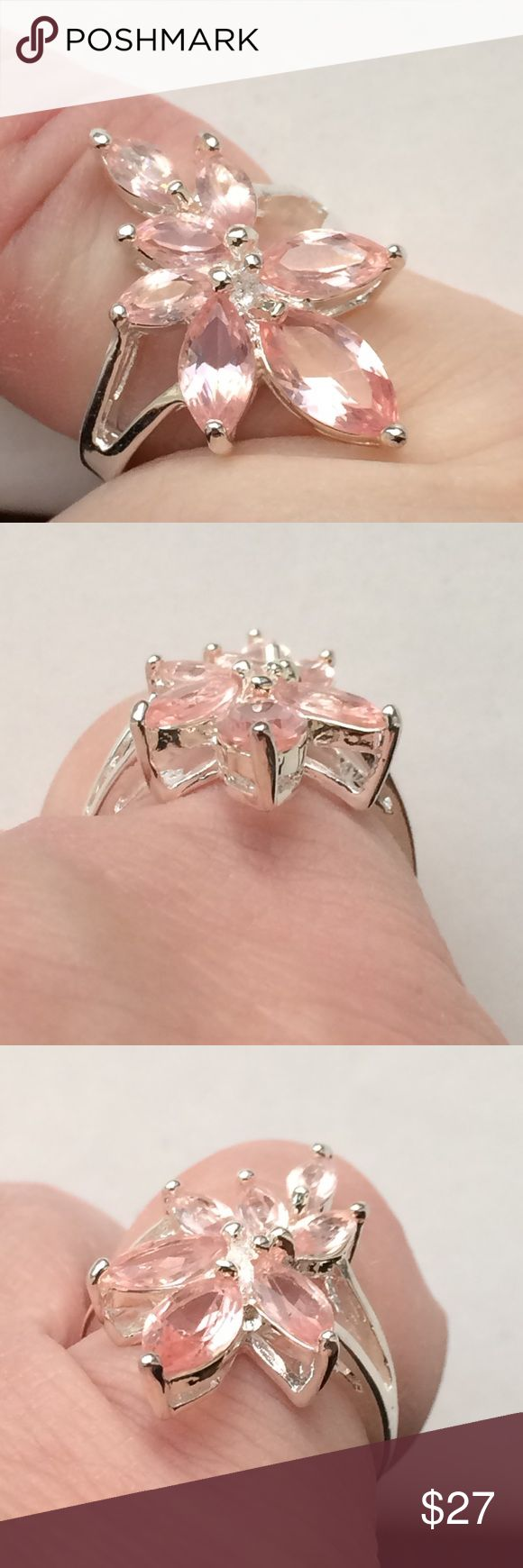 New🔥Blush Pink Topaz  Silver bi-rail flower Ring Brand new! 🔥Genuine Pink Topaz Flower Cocktail Ring size 7. tests out silver but I cannot find the .925 stamp. (Price reflects) 7 fancy faceted marquise make up this lovely blush pink stone bi-rail ring . 🌷🌷FLASH ! nwt!🌷✔️🎁Earns a free new mystery thank you gift too! ✔️top rated trusted seller ✔️ top rated trusted seller ✔️Ships quickly ! ✔️Comes in a new jewelry gift box ✔️price firm thanks 😊✔️🌷🌷 manufacturer Jewelry Rings