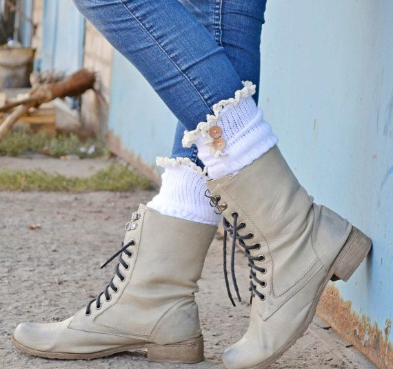 LOVELY Stretch lace boot socks White Lace boot cuffs womens