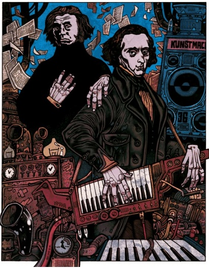 Chopin new romantic ( on the left with Adam Mickiewicz - great bard) - comic book