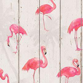Rasch Barbara Becker Home Passion Part ;5 behang Flamingo's Artikelnummer: 479720 Adviesprijs ;per rol: €28,95 Afmetingen: 10M lang ;x 53CM breed Patroon: 32CM Kleur: créme, beige, bruin, ;roze, ; ;fuchsia Behangplaksel: Perfax roze Kwaliteit: vliesbehang