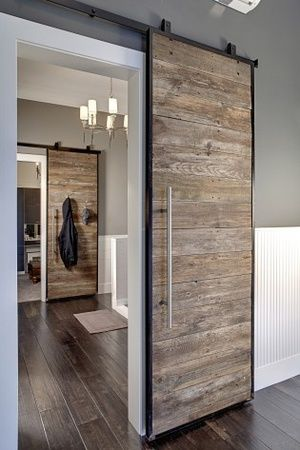I love this style interior barn door for Laundry room/Master bath!