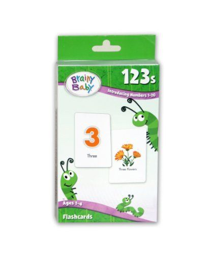 Brainy Baby 123's Flashcards by Brainy Baby. $8.21. From the Manufacturer                These large, thick,  non-toxic cardboard picture cards feature colorful, vivid images that introduce numbers 1 through 20 using object and number association. Brainy Baby is the winner of more than 75 national awards and recognitions.                                    Product Description                42087 Features: -123s flashcards.-Large, thick, non-toxic cardboard picture cards.-For ...