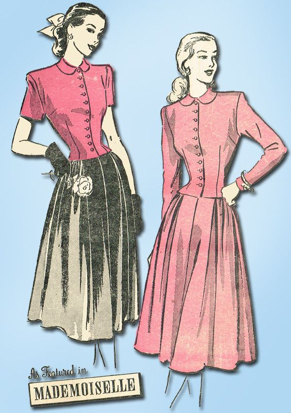 1940s Vintage Advance Sewing Pattern 4666 Misses Two Piece Dress Size 14 32 Bust