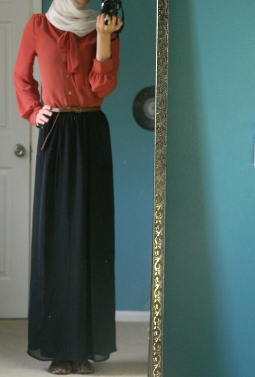 Chiffon long sleeve shirt with black maxi skirt