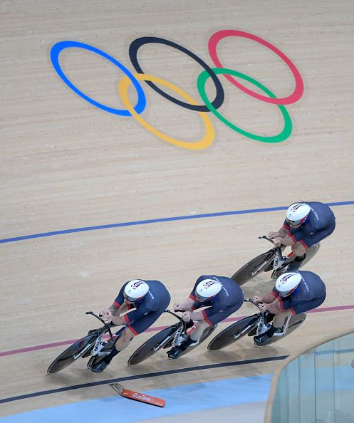 Edward Clancy Steven Burke Owain Doull and Bradley Wiggins of Team Great Britain…